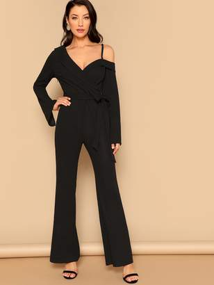 208a1430aa9 Shein Asymmetrical Shoulder Wrap Flared Jumpsuit With Belt