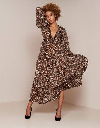 Agent Provocateur Novak Long Dress Brown Leopard Print