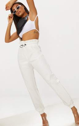 PrettyLittleThing White Toggle Paperbag Waist Cargo Trousers