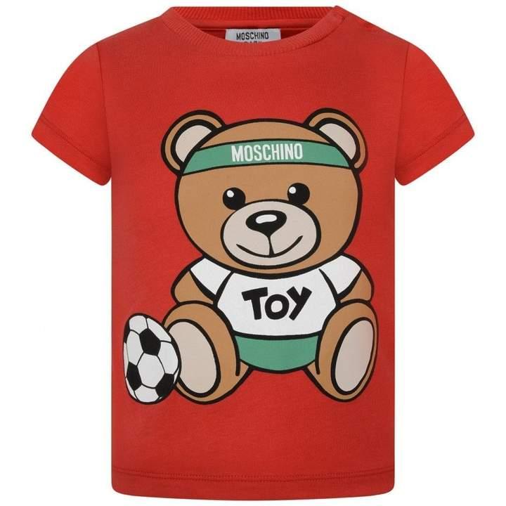 Boys Red Teddy Football Top