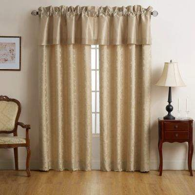 Isabella 84-Inch Rod Pocket Window Curtain Panel Pair in Gold