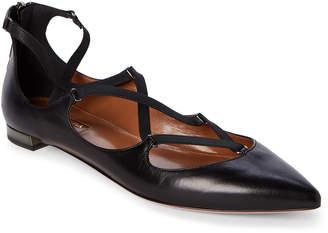 Aquazzura Black Mischa Strappy Pointed Toe Flats