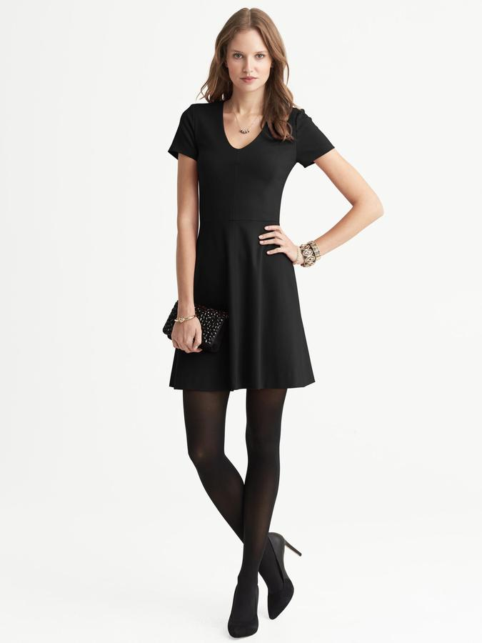 Banana Republic Seamed Ponte Fit-and-Flare V-Neck Dress