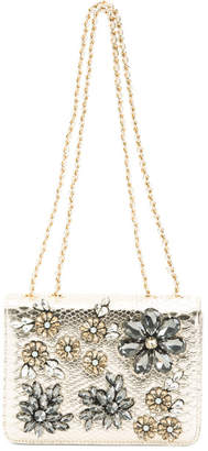 Metallic Floral Scatter Stone Clutch