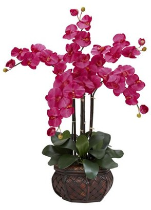 Generic Phalaenopsis with Decorative Vase Silk Flower Arrangement, Dark Pink
