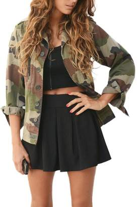Compia Women Camouflage Jacket Coat Autumn Winter Street Jacket Casual Jackets (XL)