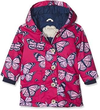 Hatley Girl's Cotton Coated Raincoats Rain Jacket, (Fluttering Kaleidoscope)