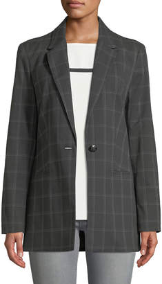T Tahari Classic One-Button Plaid Blazer