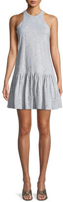 Rebecca Taylor Sleeveless Embroidered Jersey Dress