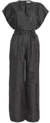 Diane von Furstenberg Wrap-Effect Striped Silk Crepe De Chine Jumpsuit