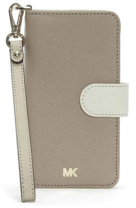 Michael Kors Folio Oat Saffiano Leather Wristlet iPhone 7/8 Case