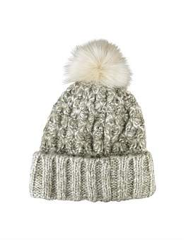 Morgan & Taylor Natural Honeycomb Knit Beanie With Pompom