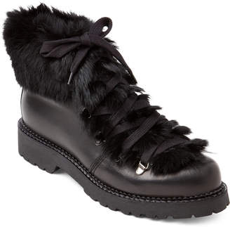 Elena Black Real Fur-Trimmed Lace-Up Boots