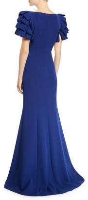Badgley Mischka Square-Neck Gown w/ Looped Sleeves