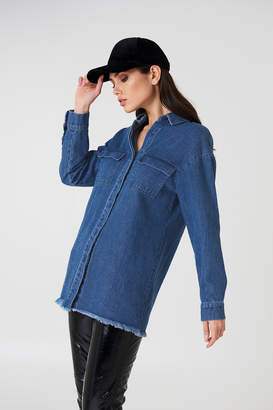 NA-KD Na Kd Denim Raw Hem Shirt