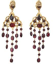 Goossens Paris Women's Garnet Drop Earrings-Gold
