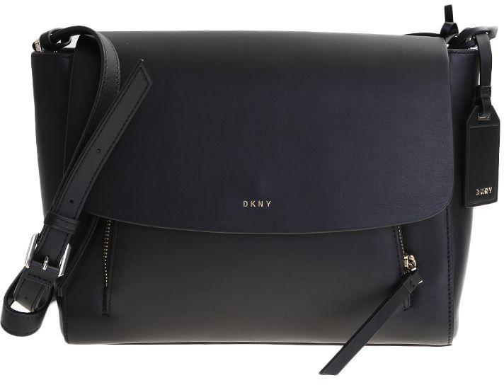 DKNYBlack Leather Messenger Bag