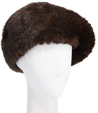 Belle Fare Knitted Mink Fur Structured Beret