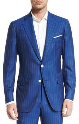 Isaia Super 160s Striped Wool Suit, Blue $3,795 thestylecure.com
