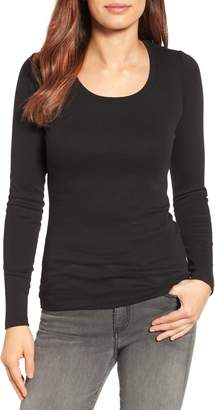 Caslon Long Sleeve Scoop Neck Cotton Tee