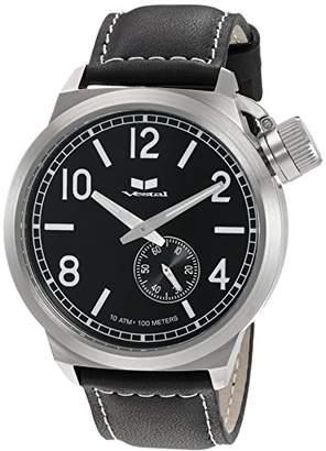 Vestal Men's CTN3L01 Canteen Black Silver with Black Enamel Crown Watch