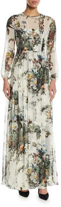 ADAM by Adam Lippes Pleated Long-Sleeve Floral Silk Gown