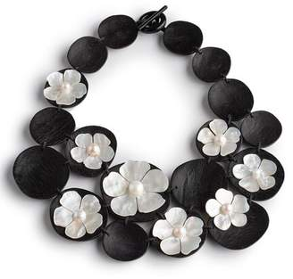 Josie Natori Mother Of Pearl Cluster Necklace
