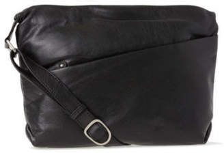 NEW Joan Weisz Leather Front Zip Pocket Shoulder Bag 2812 BLK Black