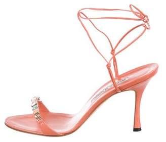 Manolo Blahnik Leather Wrap-Around Sandals