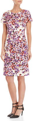 Carolina Herrera Floral Short Sleeve Sheath Dress