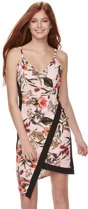 Almost Famous Juniors' Floral Asymmetrical Faux-Wrap Dress