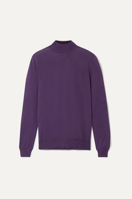 Tom Ford Cashmere And Silk-blend Turtleneck Sweater - Grape