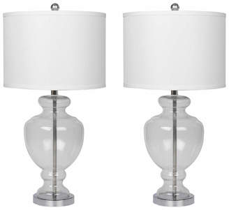 Abbyson Living Set Of Two Burnham 28In Glass Table Lamps