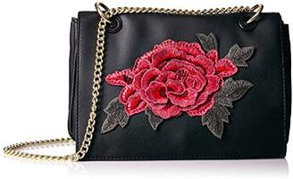 T-Shirt & Jeans Flap Cross Body with Rose Patch and Chain Strap