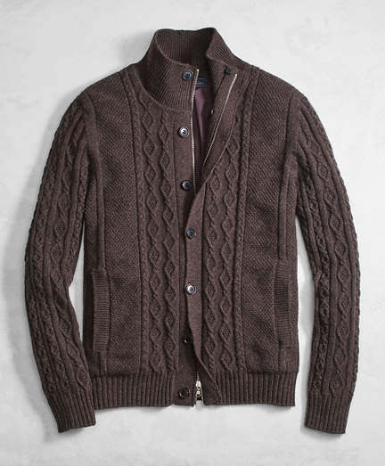 Brooks Brothers Golden Fleece® 3-D Knit Cashmere Blend Full-Zip Sweater with Lining