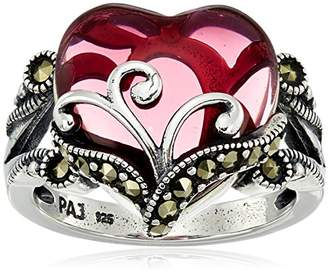 Sterling Silver Oxidized Marcasite and Garnet Colo Glass Filigree Heart Ring