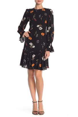 Donna Morgan Long Sleeve Ruffle Trim Print Dress