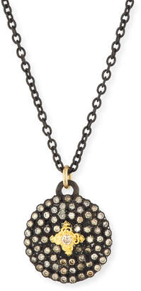 Armenta Old World Midnight Small Round Shield Pendant Necklace
