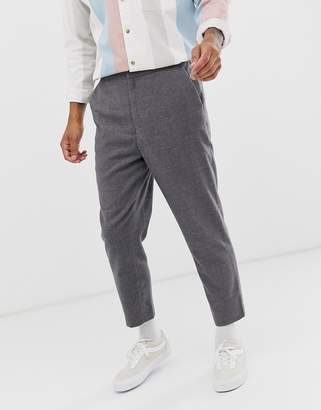 Asos Design DESIGN tapered crop smart trouser with half elasticated waist in charcoal texture
