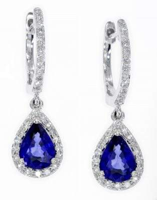 Effy 14K White Gold Earrings with 1.68 TCW Diamonds and Natural Diffused Ceylon Sapphire