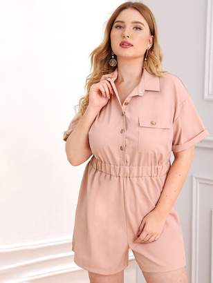 Shein Plus Button Pocket Front Roll-Up Sleeve Utility Romper