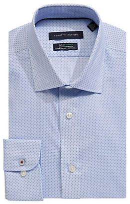 Tommy Hilfiger Dotted Stretch Slim-Fit Dress Shirt
