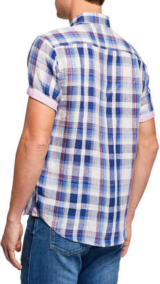 Report Collection Men's Washed Linen Plaid Sport Shirt