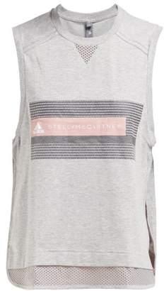 adidas by Stella McCartney Logo Print Cotton Blend Tank Top - Womens - Grey