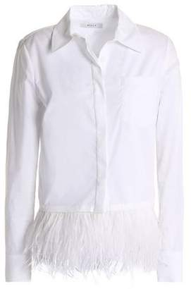 Milly Feather-Trimmed Cotton-Poplin Shirt