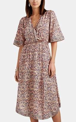 Natalie Martin Women's Floral Plain-Weave Surplice Midi-Dress - Cream