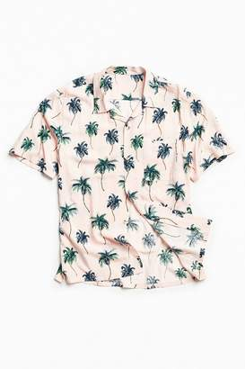 Urban Outfitters Palm Rayon Short Sleeve Button-Down Shirt