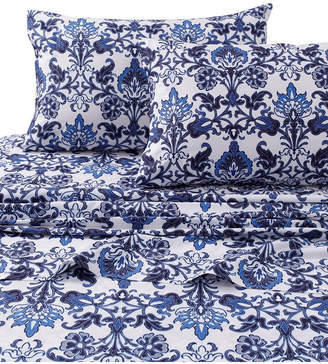 Tribeca Living Catalina Printed 300 Thread Count Extra Deep Pocket King Sheet Set Bedding