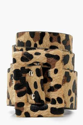 boohoo Wide Self Buckle Leopard Belt