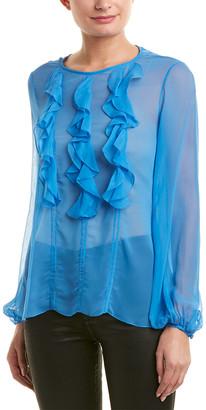 Prabal Gurung Ruffle Front Silk Blouse